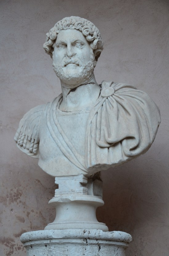 Head of Hadrian on a modern bust, from Hadrian's Mausoleum, National Museum of Castel Sant'Angelo, Rome