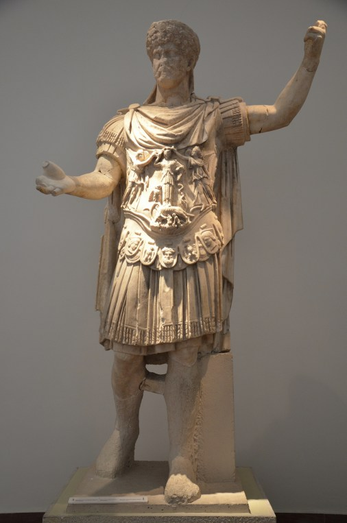 Partially restored statue of Hadrian, from the Nymphaeum of Herodes Atticus at Olympia, Olympia Archaeological Museum, Greece