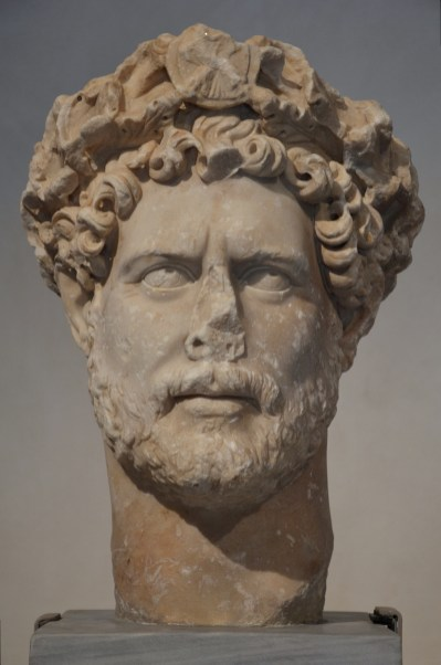 Bust of Hadrian wearing a wreath of oak leaves with, AD 130-138, Athens Archaeological Museum