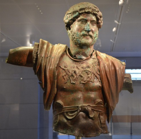 Bronze statue of Hadrian, found at the Camp of the Sixth Roman Legion in Tel Shalem, 117–138 AD, Israel Museum
