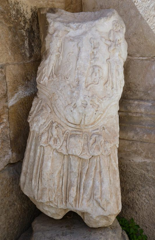 Thorax of a posthumous cuirassed statue of Hadrian, from an Antonine reconstruction of the theatre's scaena frons of Philadelphia, Amman
