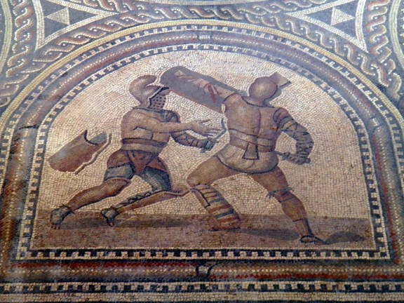 Detail of Gladiator mosaic, a Thraex (left) fighting a Murmillo (right), Römerhalle, Bad Kreuznach