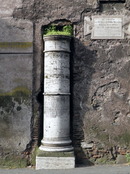 Prima Colonna Miliaria (replica), a milestone on the Via Appia, the roman numeral I in the top band indicates that it is one mile away from the Milliarium Aureum in Campidoglio, Via Appia © Carole Raddato