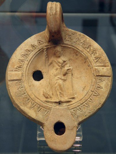 Terracota oil lamp, Juno and her cuckoo, 2nd-3rd century AD