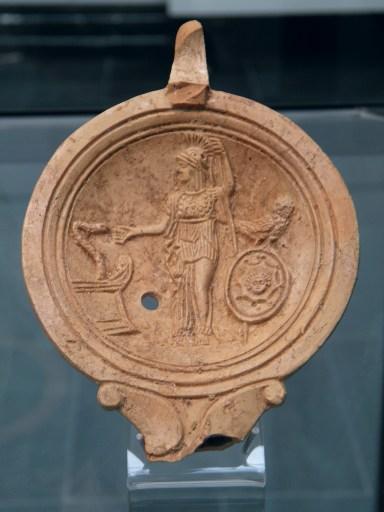Oil lamp depicting Athena/Minerva, 1st century AD