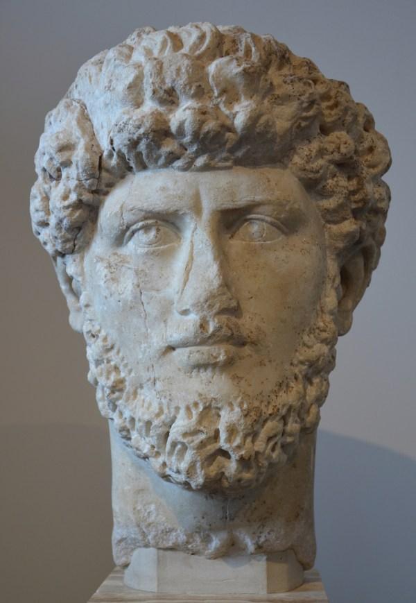 Portrait of Lucius Verus, replica of the mid 3rd century AD, found in the Roman Forum Palatine Museum, Rome