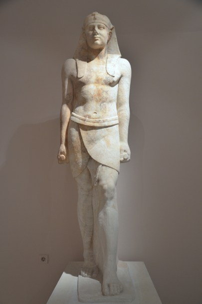 Over life-size Egyptianizing statue of Antinous, from the Sanctuary of Isis built by Herodes Atticus (101-176 AD), Archaeological Museum of Marathon, Greece