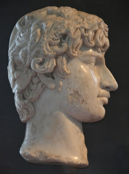 Portrait of Antinous in relief, perhaps once mounted as a medallion (tondo), ca. 130-140 AD, Cinquantenaire Museum, Bruxelles