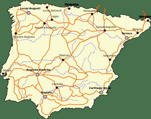 Main roman roads in Hispania © RedTony (Wikipedia, Creative Commons Attribution-Share Alike)