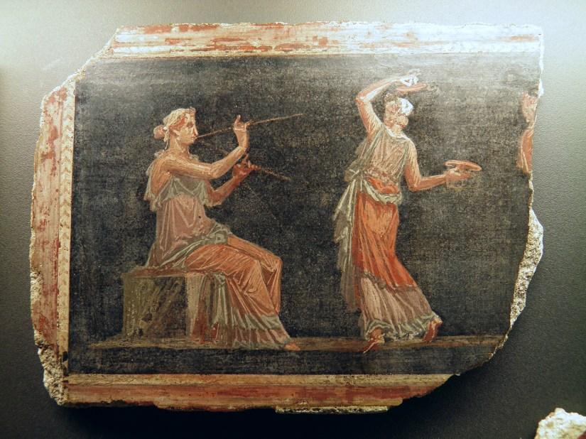 Frament of Fresco from the theatre at Herculaneum, Pompeiianum, Aschaffenburg, Germany © Carole Raddato