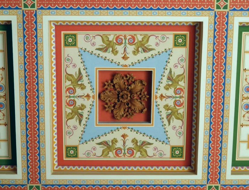 Decorated coffered ceilings in the Tablinum, Pompeiianum, Aschaffenburg, Germany © Carole Raddato