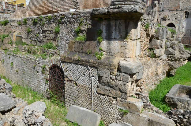 The podium of the Capitolium with the door leading to the favissae (the rooms where the votive offering were kept), Terracina (Anxur), Terracina, Italy © Carole Raddato