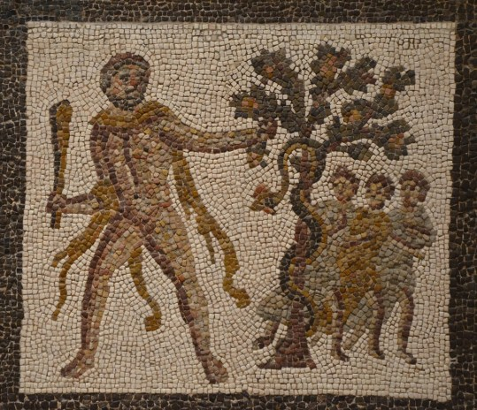 Detail of the Mosaic with the Labors of Hercules (Eleventh Labour: Apples of the Hesperides), 3rd century AD, found in Llíria (Valencia), National Archaeological Museum of Spain, Madrid