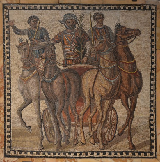 Mosaic depicting a quadriga of the factio russata (the reds), 3rd century AD, from Rome National Archaeological Museum of Spain, Madrid © Carole Raddato