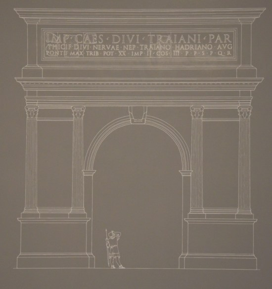 Reconstruction drawing of the triumphal arch dedicated to Hadrian near the camp of the Sixth Legion at Tel Shalem, Israel Museum, Jerusalem