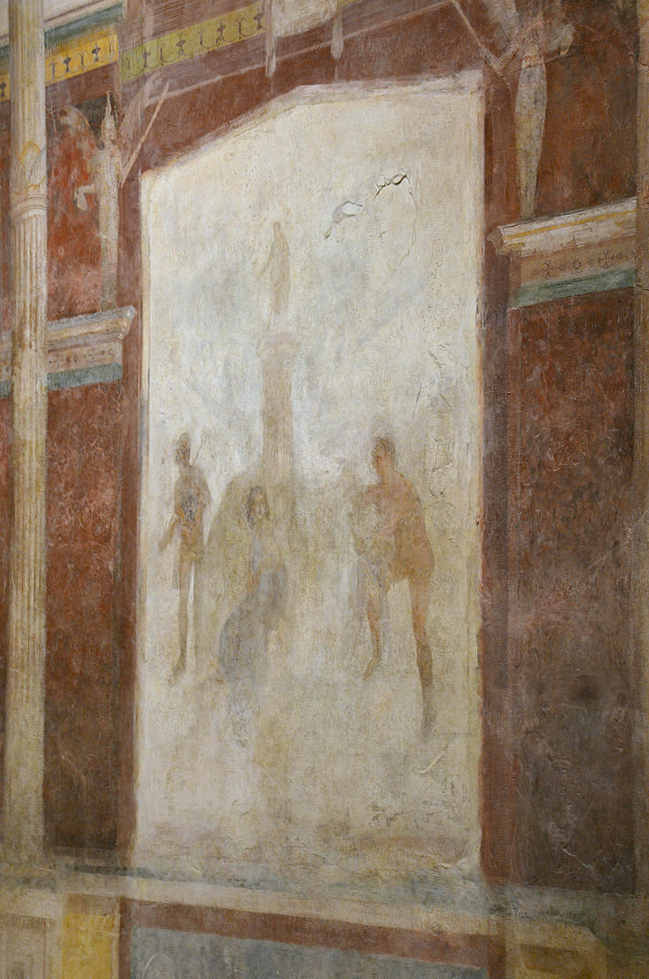Mythological scene depicting Mercury rescuing the mortal woman Io, who had been changed into a white heifer by Zeus in order to disguise his affair with her. Io is facing her guardian Argus while Mercury, arriving from the left, is about to free her.