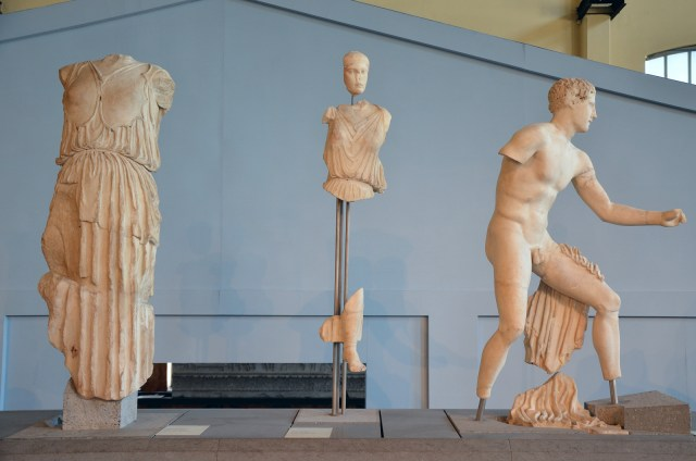 The resconstructed pediment of the Temple of Apollo Sosianus with sculptures narrating the battle between the Greeks and the Amazons, sculptures are Greek originals (c. 450 - 425 BC), brought to Rome in the Augustan period Centrale Montemartini, Rome