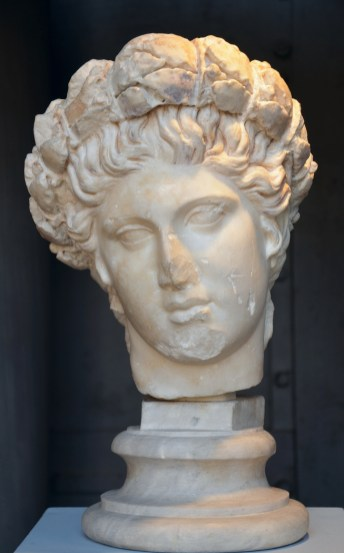 Head of Apollo crowned with a laurel wreath, Roman copy after a Hellenistic work conceived as a statuary group with the Muses Centrale Montemartini, Rome