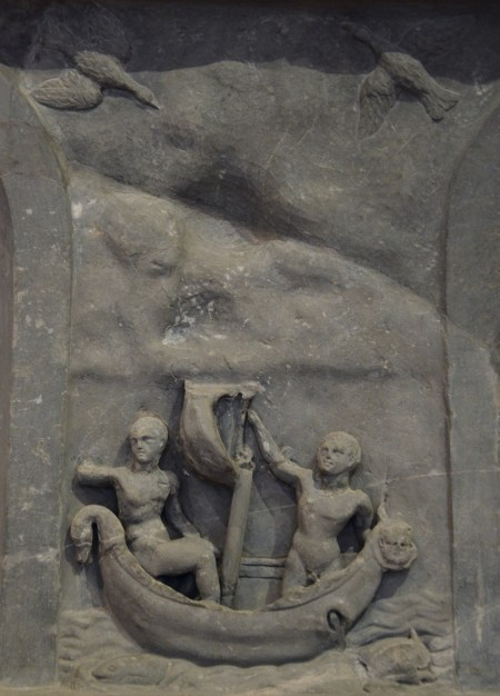 The Lansdowne relief, detail with scene depicting the Argonauts with the man-eating Stymphalian birds, found at Hadrian's Villa, 120-138 AD, Fitzwilliam Museum, Cambridge