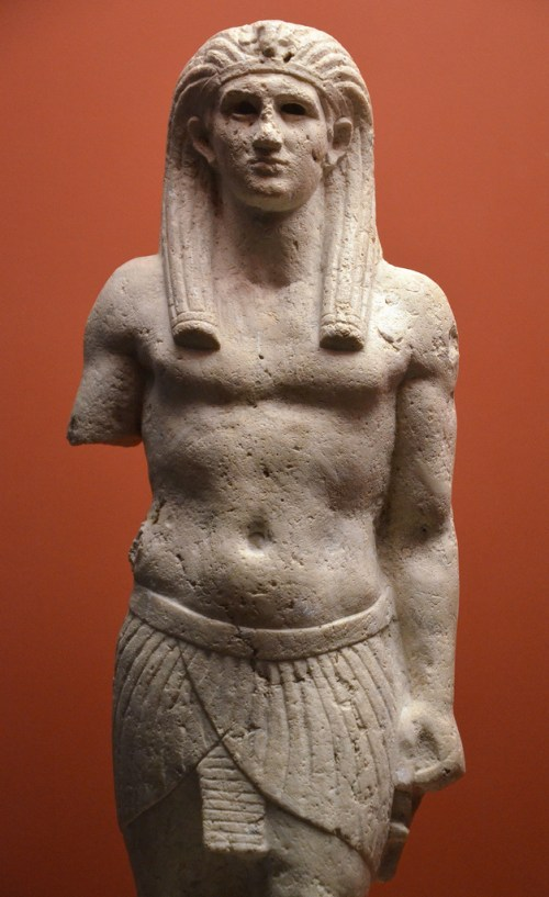 Statue of Antinous as Osiris, from Canopus (Egypt). Photo taken at the 'Osiris, Sunken Mysteries of Egypt' exhibition in Paris in 2015.