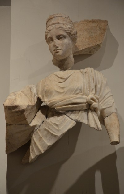 Relief frieze of the Parthian monument depicting the empress Sabina, deified wife of Hadrian, represented as a goddess, Ephesos Museum Vienna, Austria