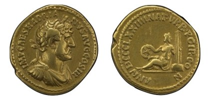 Gold coin of Hadrian struck to commemorate games held on April 21, 121 AD to mark the 874th birthday of the city of Rome. © The Trustees of the British Museum