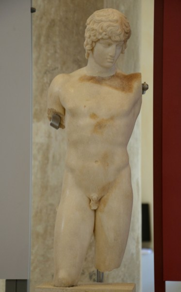 Marble statuette of Antinous, was found in Athens in a cistern.