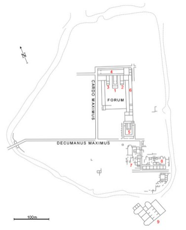 "Plan of Ulpia Oescus: 1- 3. Temples of the Capitolian Triad (Jupiter, Juno and Minerva), 4. Civic basilica, 5. Temple of Fortuna, 6. Building for the walking during the winter, 7. Building with the mosaic ""Acheioi"", 8. Late Roman Bath, 9. Extra muros building."