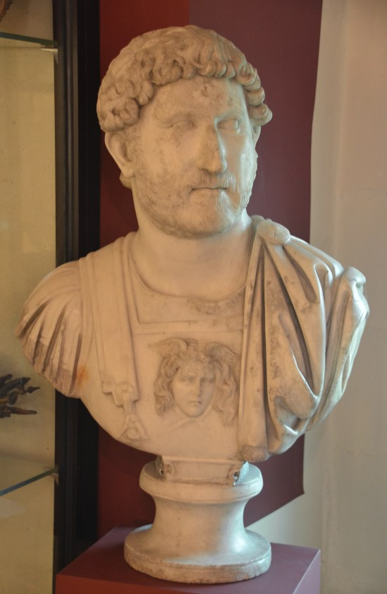 Cuirassed bust of Hadrian found in Nevers (Noviodunum). Type: Baies