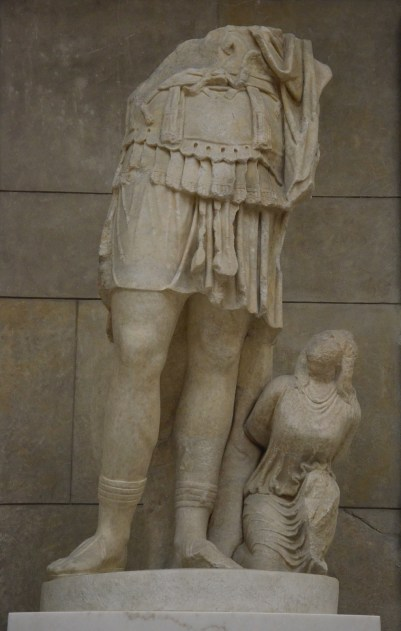 Fragmented statue of a cuirassed Roman emperor (possibly Hadrian) with a kneeling barbarian, found at Miletus in front of the Market Gate, early 2nd century AD (reign of Hadrian / 120-130 AD), Pergamon Museum Berlin