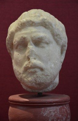 Small marble head of Hadrian, found in the Sanctuary of Apollo in Klaros, Izmir Museum of History and Art, Turkey