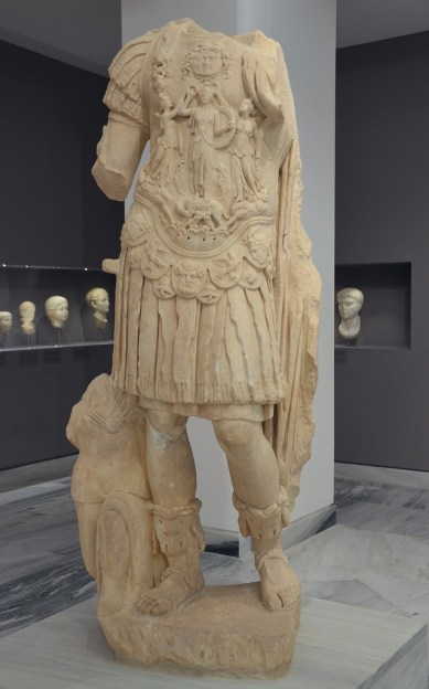 Headless statue of Hadrian. He is shown as a triumphant army commander with a cuiras. Found in Gortyna, Heraklion Archaeological Museum.