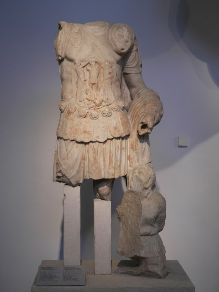 Headless statue of Hadrian wearing a cuirass with a kneeling hostage, Archaeological Museum, Thessaloniki, Greece