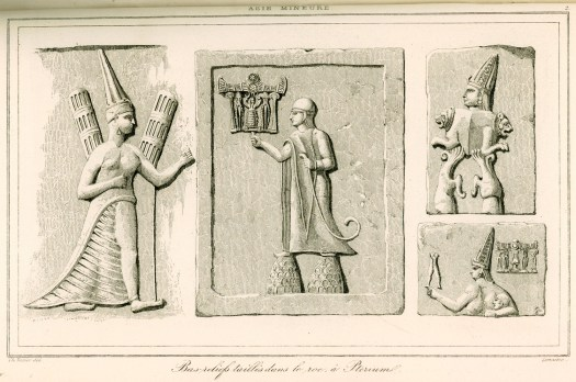 Engraving from reliefs at Yazilikaya by French archaeologist Charles Texier (1882).