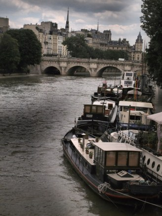 boats on the Seine in gray weather.