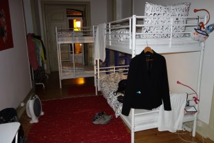 My dorm room at Santarem Hostel, a very beautiful hostel