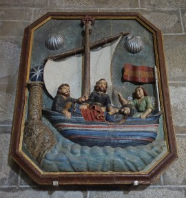 Depicting St James' body being carried by boat