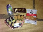 My big sushi, nuts, chocolate and plum shochu dinner!