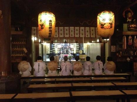 Henro chanting at Temple 1, Ryozenji
