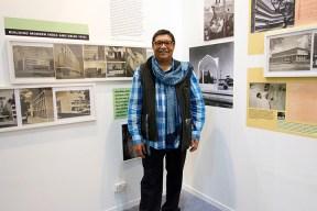 Ram Rahman at an exhibit of his father Habib's architectural workworkRahman