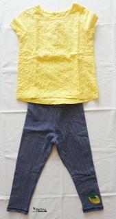 outfit leggins stripes&lemon e t-shirt gialla
