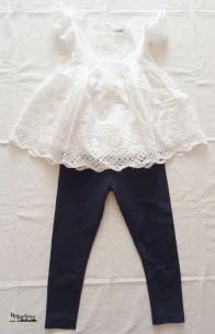 outfit leggings blu e top frou-frou