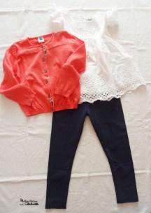 outfit leggings blu e top frou-frou& cardigan