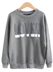 Chic Round Neck Long Sleeve Letter Pattern Sweatshirt For Women