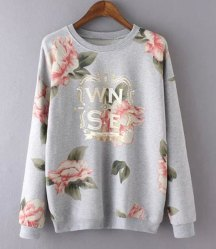 Stylish Jewel Neck Long Sleeve Letter and Floral Printed Women's Sweatshirt