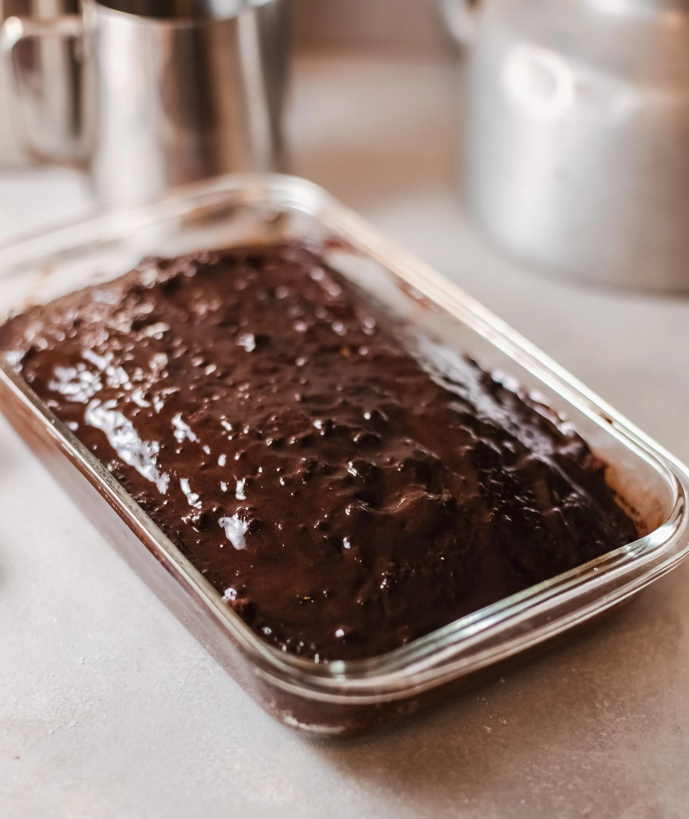 Sticky Toffee Pudding - Pour Syrup over Pudding in Pan