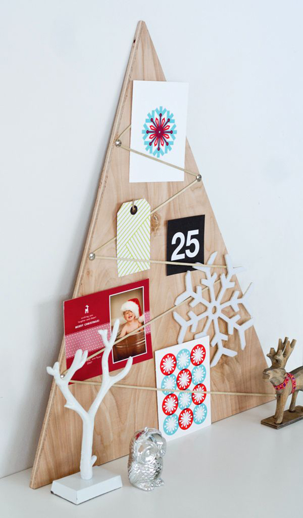 decoração diy natal árvore de madeira