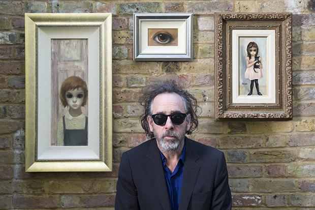 Tim Burton with his vintage Margaret Keane paintings, October 28, 2014