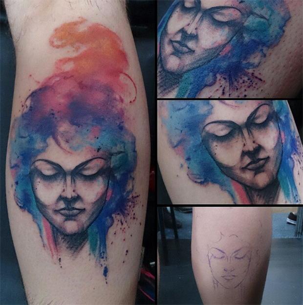follow the colours tattoo friday realismo aquarela suliée pepper mulher aquarelada