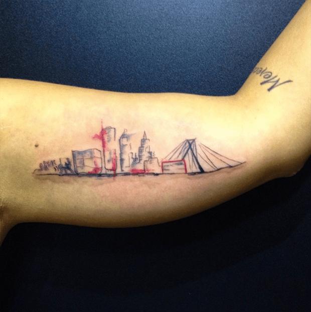 follow the colours tattoo friday LCjunior aquarela skyline